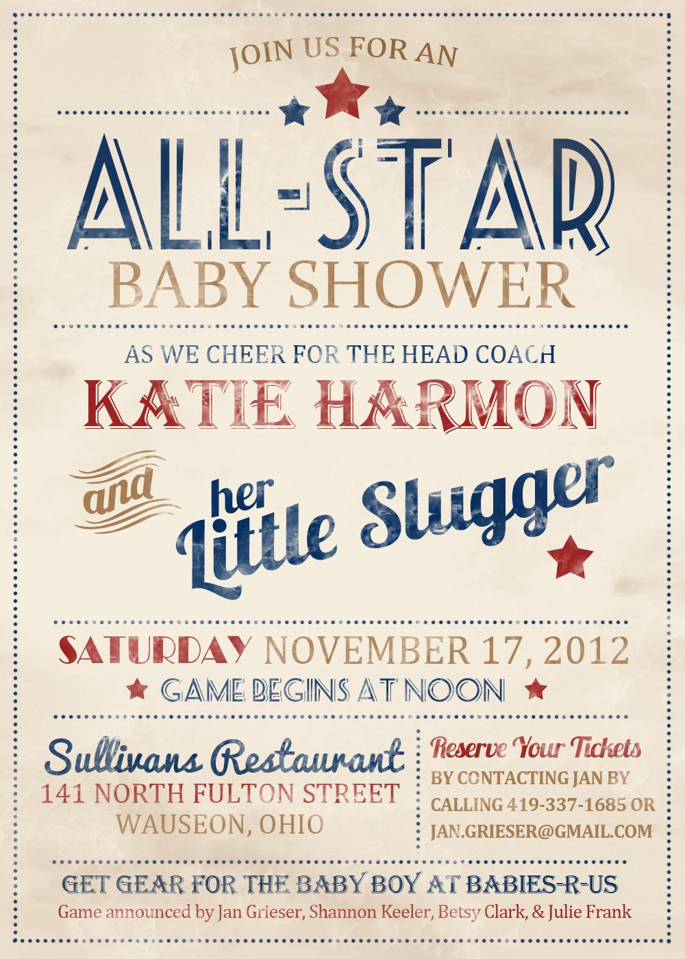 baseball themed baby shower invitation with vintage feel